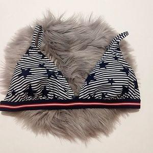 Xhilaration Stripes & Stars Bikini Swimsuit top